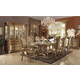 Acme Vendome 9-Piece Double Pedestal Dining Set in Gold Patina