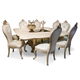 AICO Platine de Royale 7pc Square Dining Table Set in Champagne