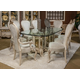 AICO Platine de Royale 9pc Rectangular Glass Top Dining Table Set in Champagne