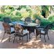 South Sea Rattan Key West Outdoor 7-Piece Oval Dining Set in Chocolate