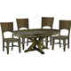 John Thomas Furniture Canyon 5-Piece Extension Pedestal Dining Room Set in Graphite