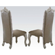 Acme Versailles Side Chair in Vintage Gray PU/Fabric & Bone White (Set of 2) 61132 SPECIAL CLEARANCE