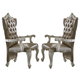 Acme Versailles Arm Chair in Vintage Gray PU & Bone White (Set of 2) 61103
