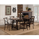 Alpine Furniture Arendal 7-Piece Trestle Dining Table Set in Burnished Dark Oak