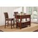 Alpine Furniture Caldwell 3-Piece Kitchen Cart Set in Antique Cappuccino
