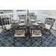 Burnella Outdoor 7-Piece Rectangular Dining Set in Beige/Brown