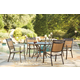 Carmadelia Outdoor 5-Piece Round Dining Set in Tan/Brown