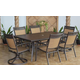 Carmadelia Outdoor 7-Piece Rectagular Dining Set in Tan/Brown