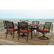 Tanglevale Outdoor 7-Piece Rectangular Extension Dining Set in Burnt Orange