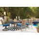 Partanna Outdoor 7-Piece Rectangular Dining Set in Blue/Beige