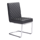 Zuo Modern Quilt Armless Dining Chair in Black 100187