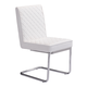 Zuo Modern Quilt Armless Dining Chair in White 100188