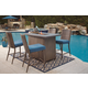 Partanna Outdoor 5-Piece Bar Table Set in Blue/Beige