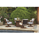 Zoranne Outdoor 5-Piece Fire Pit Table Set in Brown/Beige