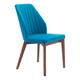Zuo Modern Vaz Dining Chair in Blue Velvet 100270 (Set of 2)