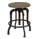 Samuel Lawrence Flatbush Metal and Wood Stool in Light Oak S084-172