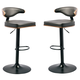 Tall Upholstered Swivel Barstool in Brown/Black (Set of 2) D120-330