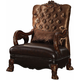 Acme Versailles Living Room Chair in Golden Brown Velvet & Cherry Oak 52097