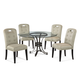 Bassett Mirror Company Belgian Luxe 5pcs Tempe Casual Dining Set in Antique Bronze/Linen