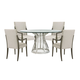 Lexington Ariana 5PC Riviera Stainless Center Table with Glass Top in Platinum
