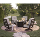 Castle Island Outdoor 5-Piece Fire Pit Table Set in Dark Brown