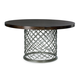 Bernhardt Hallam Metal Dining Table with Round Glass Top Top
