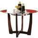 Acme Furniture Baldwin Round Dining Table in Walnut and Clear Glass 07815