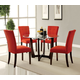 Acme Furniture Baldwin 5pc Round Leg Dining Set in Walnut and Clear Glass