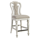 Liberty Furniture Magnolia Manor Upholstered Counter Height Chair in Antique White (Set of 2) 244-B650124 EST SHIP TIME IS 4 WEEKS