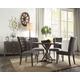 Acme Furniture Carmelina 5pc Round Dining Set in Weathered Gray Oak