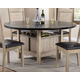 Acme Furniture Ramona Square/Round Dining Table in Dark Walnut And Antique Beige 72005