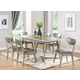 Acme Furniture Rosetta 7pc Rectangular Dining Set in White and Silver