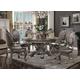 Acme Furniture Versailles 5pc Round Pedestal Dining Set in Antique Platinum