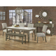 Vaughan-Bassett Simply Dining 5-Piece Quartz Top Kitchen Table Set w/ Upholstered Chairs in Grey