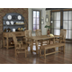 Vaughan-Bassett Simply Dining 5-Piece Trestle Dining Room Set w/ Live Edge Top in Natural Maple