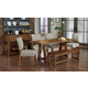 Vaughan-Bassett Simply Dining 5-Piece Live Edge Top Trestle Dining Room Set w/ Upholstered Chairs  in Antique Amish