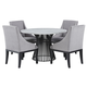 Palliser Furniture Mix and Match Naomi Round Dining Table with Marble Top and 4 Diana Wing Chair Dining Set in Grey 119-156BM56