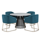 Palliser Furniture Mix and Match Naomi Round Dining Table with Marble Top and 4 Scarlett Chair Dining Set in Dark Teal 119-156BM58