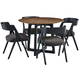 Palliser Furniture  Mix and Match Clara Round Dining Table and 4 Calvin Bent Wood Chair Dining Set in Brown 119-162K50