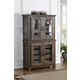 New Classic Furniture Tuscany Park Curio Cabinet w/ Base Glass Doors in Vintage Gray
