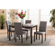 Baxton Studio Andrew 5pc Dining Room Set in Dark Brown