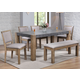 Acme Monolith 7PC Dining Room Set in Dark Gray & Rustic Oak
