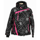 Womens Black Plaid Vertical Jacket