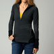 Womens Black Divide Long Sleeve Pullover Shirt