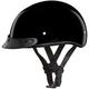 Hi-Gloss Black Skull Cap Half Helmet w/Visor