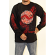 Black Flaming Yin Yang Long Sleeve T-Shirt