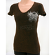 Womens Brown Rhinestone Wings T-Shirt