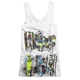 Womens White Moto On Mars Drop Arm Hole Tank