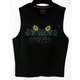 Womens Black Crochet Neck Tank
