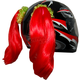 Red Helmet Pigtails - PT104